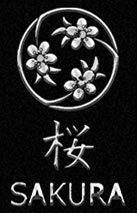 Sakura Japanese Restaurant blossom logo in silver.