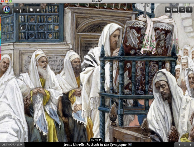 Jesus Unrolls the Book in the Synagogue. Bible360 is a free interactive socially-enabled app that brings the scripture to life through video, photos, maps, virtual tours, reading plans and more! Download it for FREE, www.bible360.com