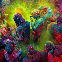 The festival of Holi is a religious festival. It is celebrated on the day after the full moon in early March every year. It is also called the Festival of Colours. On this day people Throw colors at each other. This is India's most celebrated festival along with Diwali.People sing bhajans of Radha and Lord Krishna on this day and it marks the beginning of Spring Season in india. Here you can see a gathering of people singing folk songs during Holi.