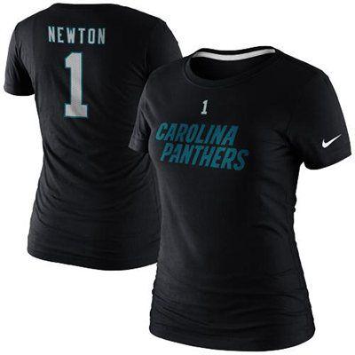 Nike Cam Newton Carolina Panthers Ladies Player Name and Number T-Shirt - Black