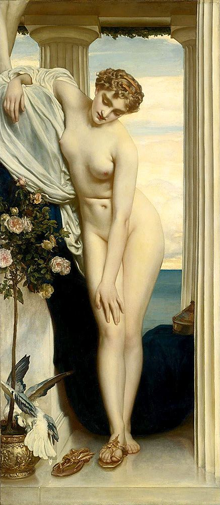 """leighton frederick venus undrebes before bathing (from <a href=""""http://www.oldpainters.org/picture.php?/28959/category/12790""""></a>)"""