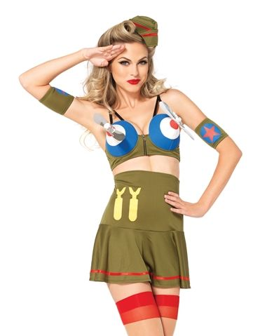 You're the sexiest fighter plane anyone has seen in The Bomber Girl costume #loverslane #halloween2014 #armycostume #sexycostume #militarycostume #halloweencostume