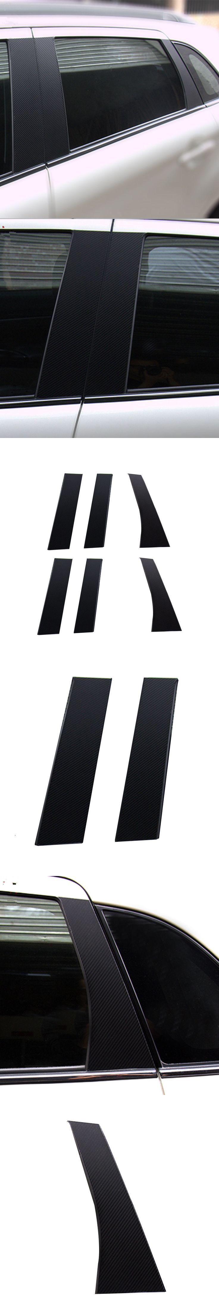 Yandex 6pcs Good Quality Car Column Carbon Fiber Stickers For MITSUBISHI ASX Accessories 2011 2012 2013 2014 2015 2016
