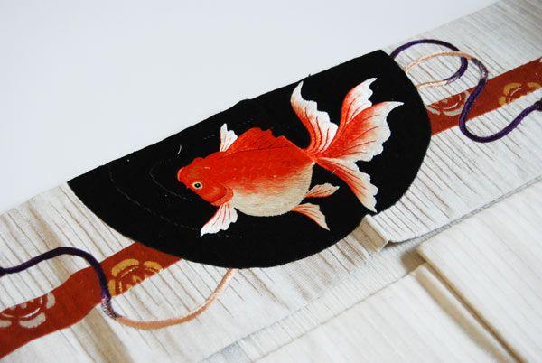 銀座の骨董大市 暈しに朝顔 絽縮緬着物×木瓜紋 金魚 総刺繍名古屋帯 | kimono sarasa