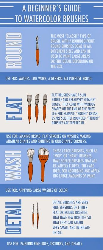 Infographic: A Beginner's Guide to Watercolor Brushes...  Watercolor is a beautiful medium for creating fluid, vibrant paintings. But do you know what brushes to use to attain various effects on paper? This infographic is an ideal beginner's guide to the key types of watercolor brushes. #picsandpalettes   #craftsy