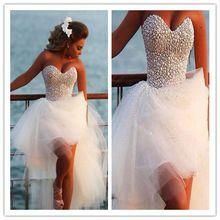 Vestido де Noiva блестящие бисероплетение милая жемчуг из органзы High Low на заказ элегантный высокое качество белый свадебные платья 2016(China (Mainland))