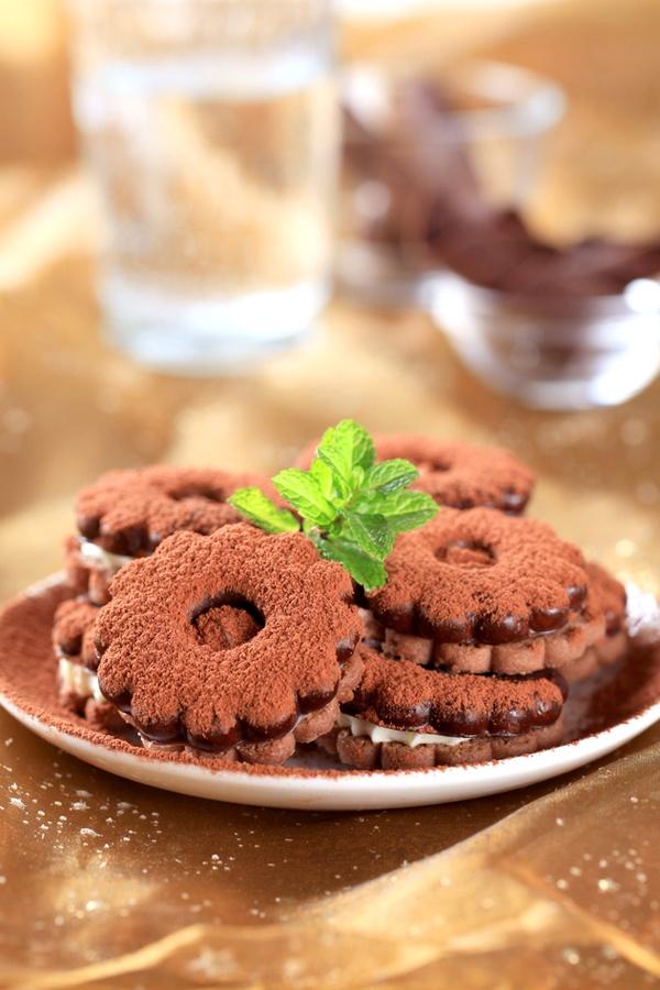 Cream-filled Chocolate/Orange Shortbread Cookies