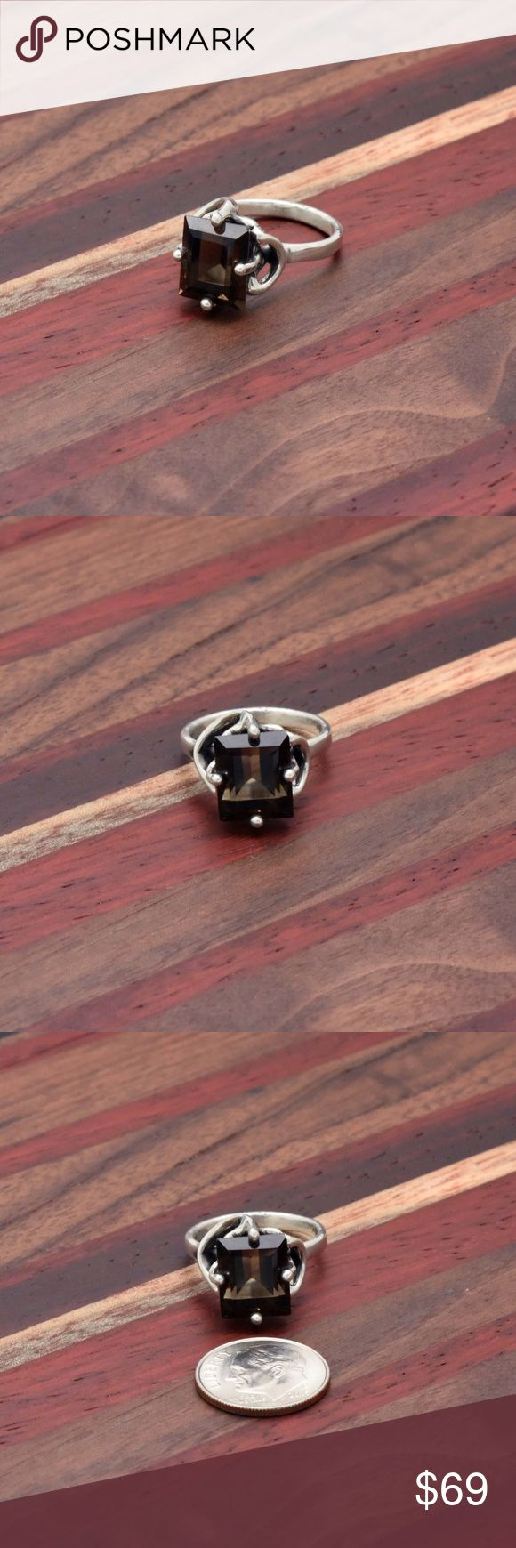"""950 & smoky Topaz ring Stamped """"950"""". Size 7.  Sterling silver is an alloy of silver containing 92.5% by mass of silver and 7.5% by mass of other mThe sterling silver standard has a minimum millesimal fineness of 925.   All my jewelry is solid sterling silver. I do not plate.   Hand crafted in Taxco, Mexico.  Will ship within 2 days Jewelry Rings"""