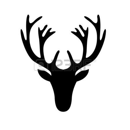 illustration d'une silhouette de tête de cerf isolé sur blanc Banque d'images