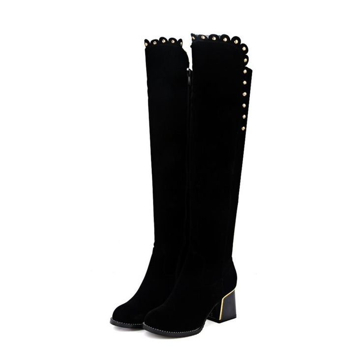 EGONERY shoes 2017 women over-the-knee boots concise black round toe side zipper metal decoration high heels short plush boots
