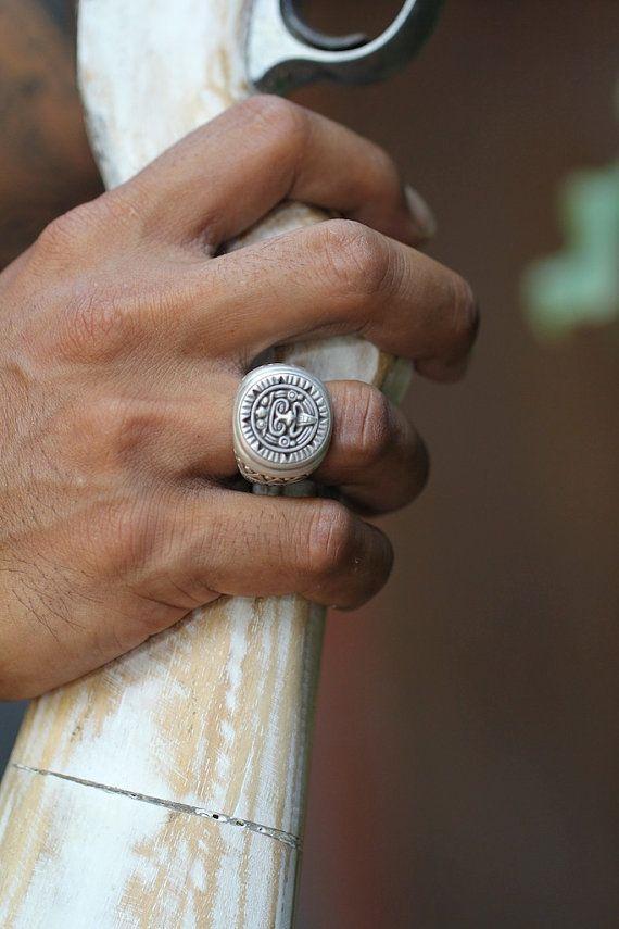 Hommes Bague en argent sterling Aztec style fait à la main