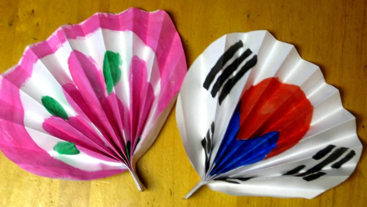 two korean paper fans                                                                                                                                                                                 More