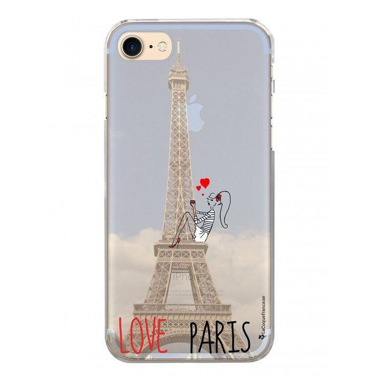 Coque Iphone 7 Iphone 8 Rigide Transparente Love Paris Ecriture Tendance Et Desi…