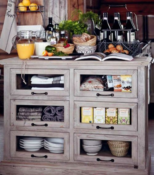 http://bit.ly/H7bt6w Fabric cupboard: Idea, Storage Storage, Kitchens Islands, House, Kitchens Cupboards, Glasses Doors, French Country Kitchens, Kitchens Storage, Pantries Storage