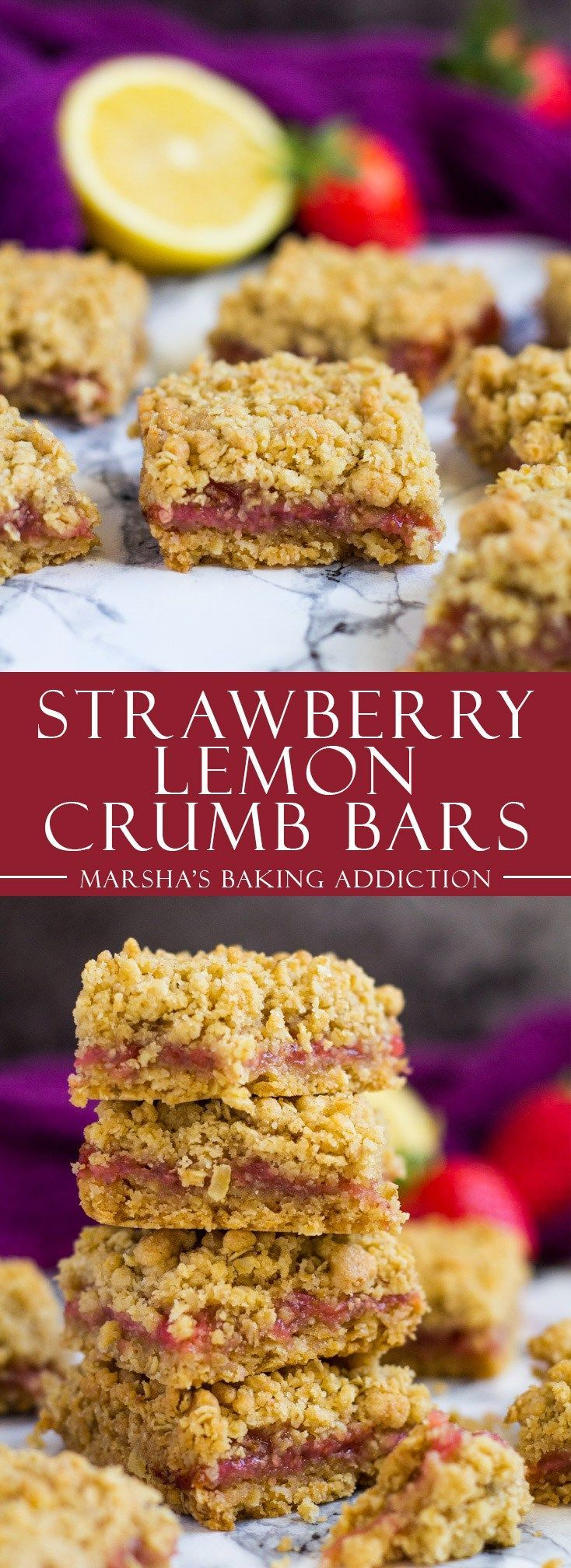 Strawberry Lemon Crumb Bars | http://marshasbakingaddiction.com /marshasbakeblog/