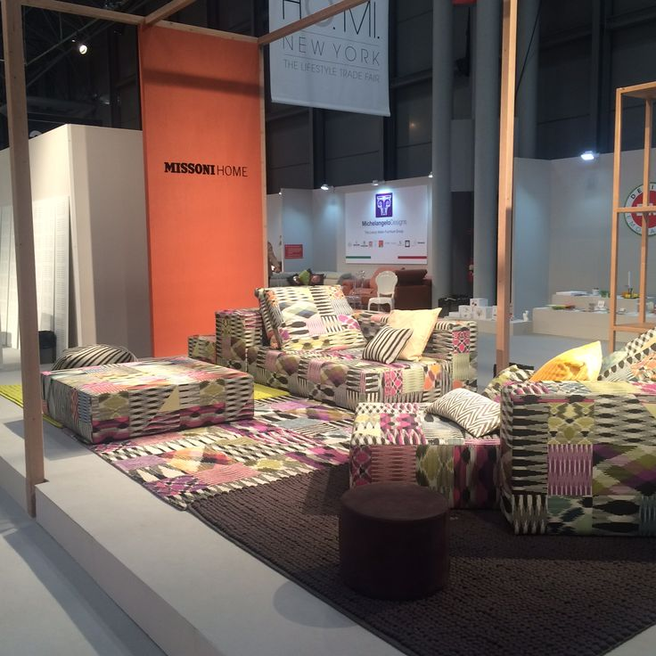 The MissoniHome display at ICFF, in the inaugural HOMI section, which highlighted Italian lifestyle designs. Featured here is the Nap Sofa system in Patch Di Fiammati.