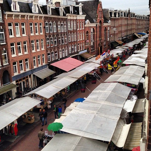 Albert Cuyp Markt in Amsterdam, Noord-Holland Make sure to visit the Albert Cuypmarkt (open every day except Sunday from 9-6pm) to find quirky clothing, street food and fresh fruit & veggies.