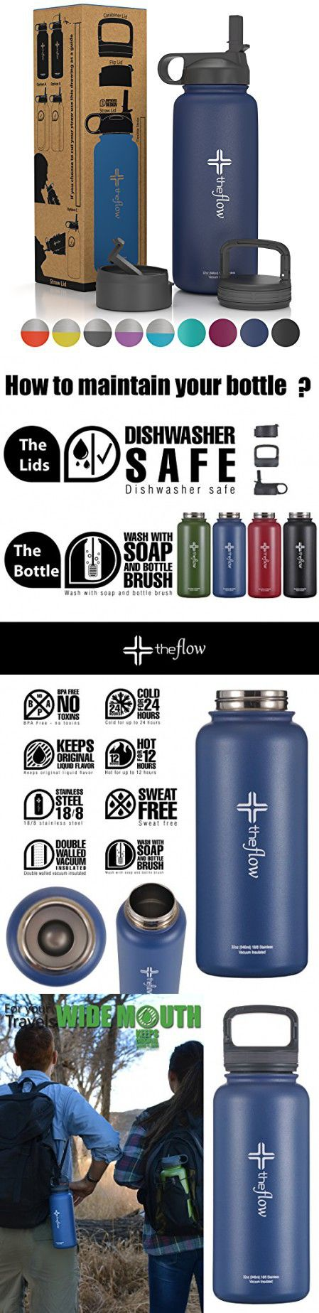 The flow Stainless Steel Water Bottle Double Walled/Vacuum Insulated - BPA/Toxin Free  Wide Mouth with Straw Lid, Carabiner Lid and Flip Lid, 32 oz.(1 Liter) Denim blue