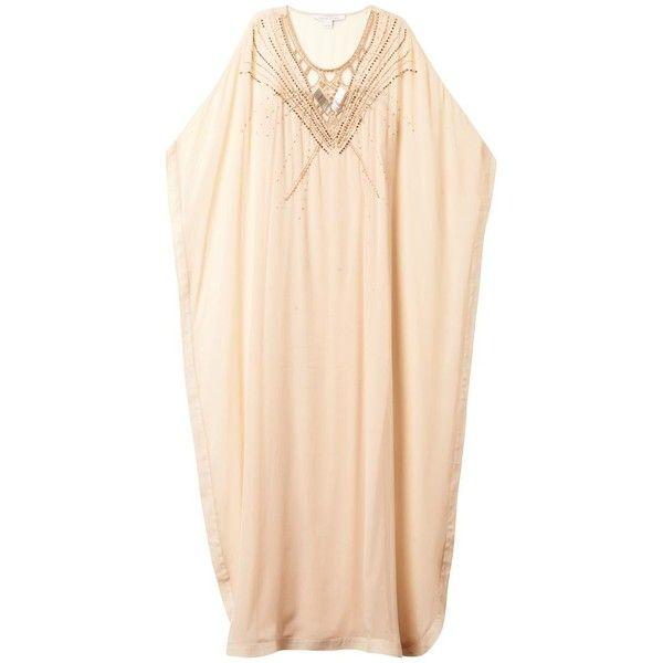 DIANE VON FURSTENBERG Clare kaftan (€235) ❤ liked on Polyvore featuring tops, tunics, dresses, beachwear, beige, kaftan tops, cutout tops, diane von furstenberg tunic, caftan tunic and caftan tops