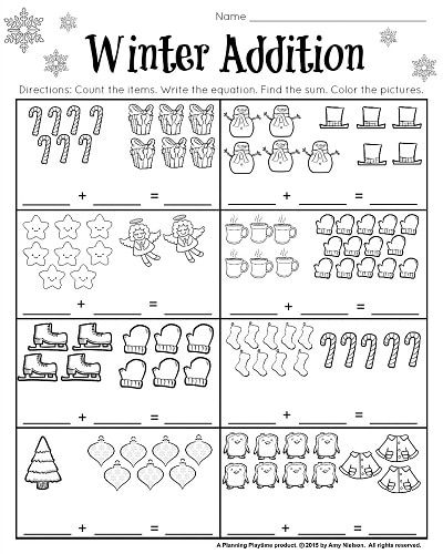 1st Grade December addition worksheet. Count the items and complete the equation. Lots of other great winter worksheets in this set.