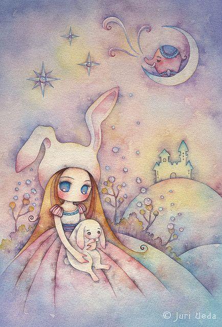 bunnies dream on the moonlight hill