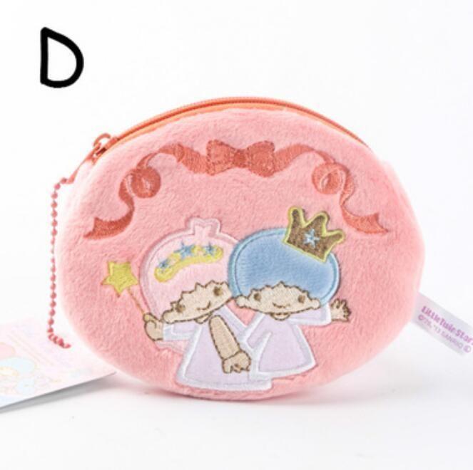 Little Twin Stars Hand In Hand Plush Handbag Coin Bag Money Bags Zip Ornament
