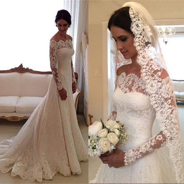 Custom made new 2015 A line long sleeve lace wedding dress  vestido de noiva com manga longo renda free shipping ZE3-in Wedding Dresses from Weddings & Events on Aliexpress.com | Alibaba Group