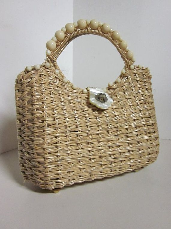 Vintage basket Purse 60s Woven by Walborg by cnstark on Etsy, $28.00