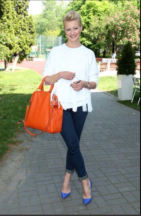 Małgorzata Kozuchowska wearing Prada, Ray Ban Mirror, Fringe, Christian Lubutoin