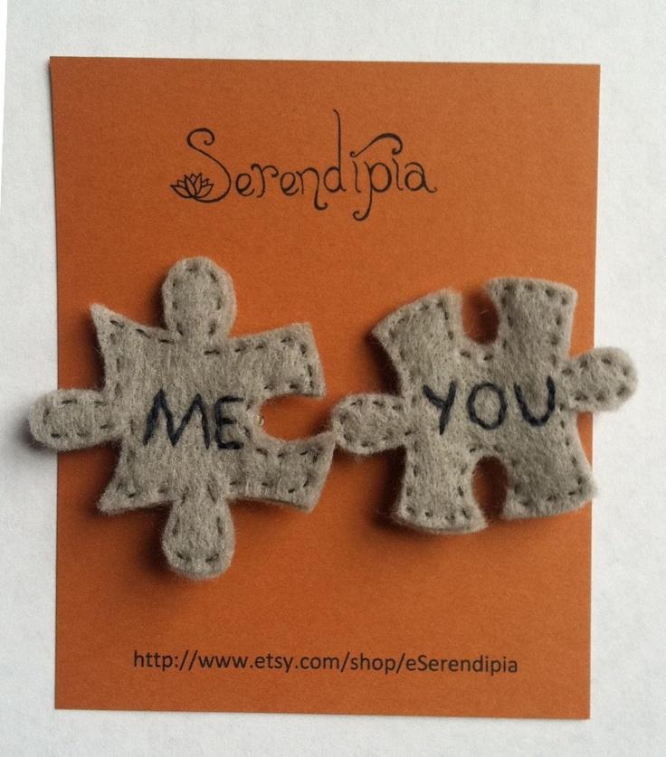 MeYou Jigsaw-Puzzle-Piece Felt Pins. $18.00, via Etsy.