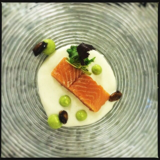 Smoked trout with almond gazpacho