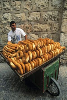 Sesame Bread Vendor In Jerusalem, Israel