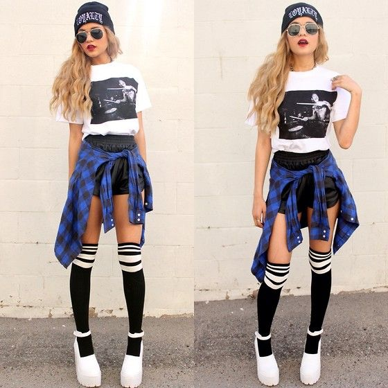Loyalty Club #Freshestdrummeralivetee, Forever 21 Black White Striped Knee High Socks, Jeffrey Campbell White Scullys