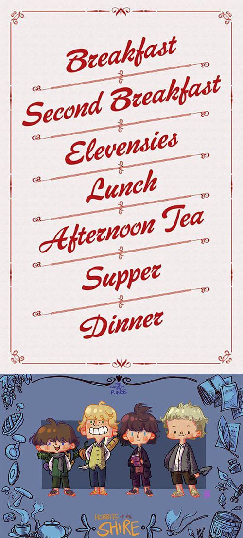 Hobbits Meal Schedule.