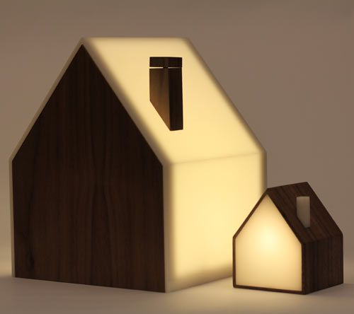 Good Night Lamp. The series of house-shaped lamps are connected via the internet and send or receive a signal (by the house being lit) from the people most important to you. The set comes with a Big Lamp and a Little Lamp for each important person in your life with a corresponding set. Turn the Big Lamp on and signal any of the Little Lamps around the world.
