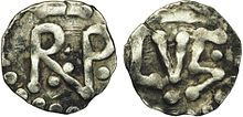 Denier de Pépin le Bref Maire du palais de Neustrie (741-751) Roi des Francs (751-768), dynastie Carolingienne