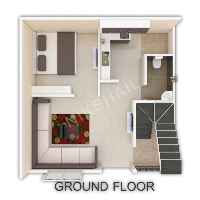 20x20 House Plan With 3d Elevation House Plans House Small