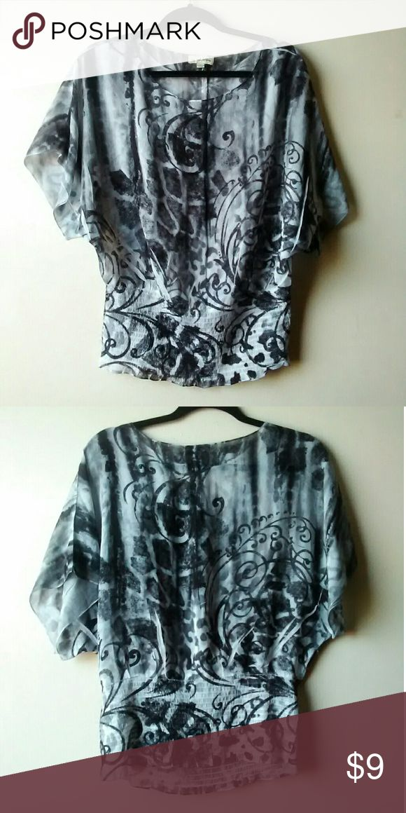 See though light and dark grey women's top Good condition No rips or stains. Size:M I do bundles up to 4 items HAPPY SHOPPING! Tops Blouses