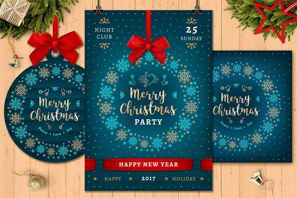 christmas-party-poster Merry Christmas and Happy New Year Poster for Holiday party + Bonus: Christmas card and Gift tag. Elegant turquoise and gold Christmas design, gold snowflakes, red bow and ribbons. Christmas Collection consists of 19 files (Vector & Raster - 4 EPS, 4 AI, 7 JPG and 4 PNG on a transparent background) + Fonts. YOU WILL GET: The fonts used in graphics are freely available (SIL Open Font License, Free For Personal and Commercial Uses). For details please look in font.txt…