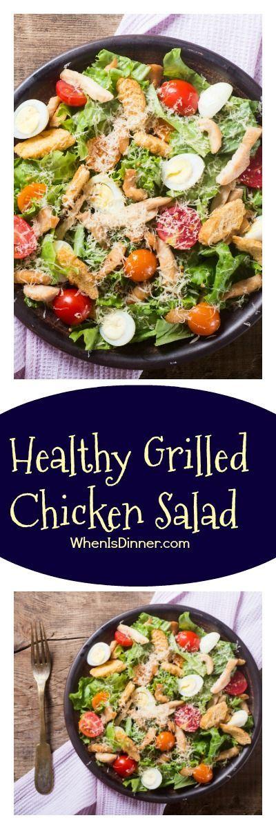 Healthy Grilled Chicken Salad via @Kdkaren