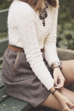 Fluffy white knit sweater, statement necklace, grey tweed skirt