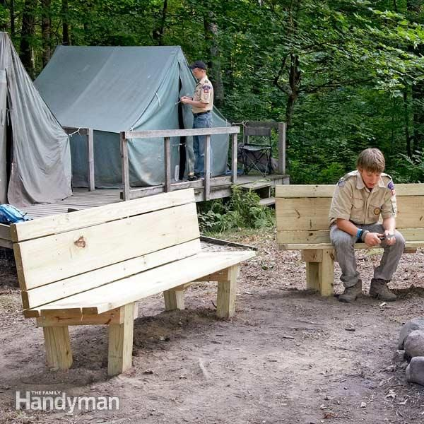 <p>this simple, sturdy <strong>campfire bench</strong> is perfect for the back  yard or cabin. build it with your kids this weekend and it