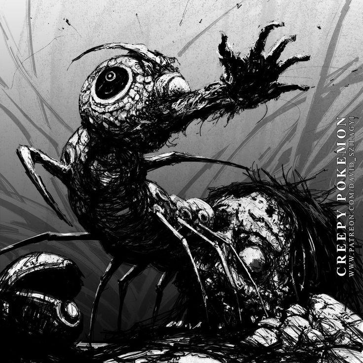 ArtStation - Creepy Pokemon: 010 Caterpie, David Szilagyi