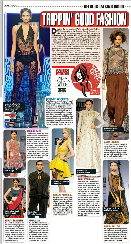 Designer Tanieya Khanuja_  Delhi Times Coverage_ 1st April'14