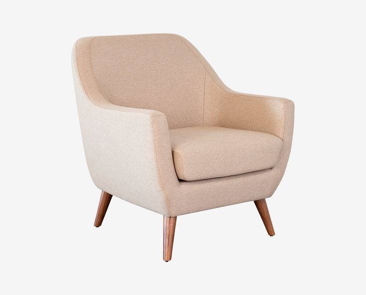 $500  Scandinavian Designs - Beautifully tailored, the Taisia accent chair is an exhibit of classic modern lines with the drum-style silhouette and angled solid wood legs with a walnut veneer.