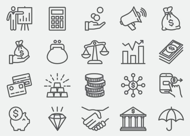 Finance And Money Line Icons ラインアイコン ミニマリストアート ロゴデザイン インスピレーション