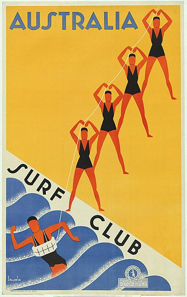 Gert Sellheim, Australia surf club. c.1936. planographic lithograph. via National Gallery of Australia