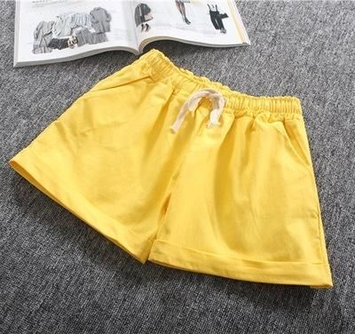 Summer Casual Solid Cotton Shorts Preppy Candy Colors High Waist Loose Beach Shorts Streetwear Pants