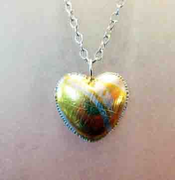 Felicity Peters Large sterling sivler heart pendant with 24ct gold on stg silver long chain
