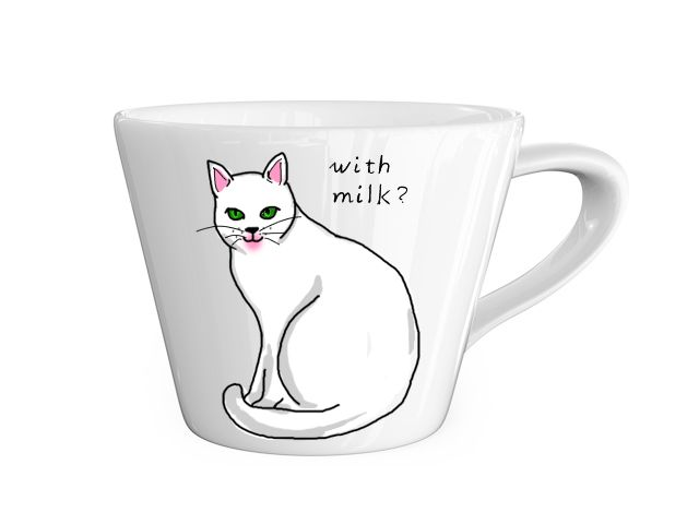 #coffee #white cat #illustration